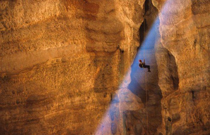 oman Descending into the Majlis Al Jinn Cave