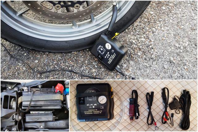 GONFIA E RIPARA VT100 è lo strumento di riparazione pneumatici da tenere sempre con sé, in caso di foratura, per rimettersi subito in strada e continuare il proprio viaggio in moto.