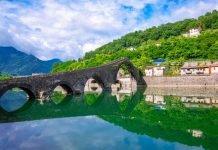 Ponte della Maddalena - Borgo a Mozzano toscana in moto bici