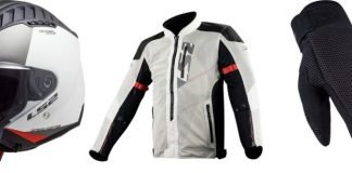 LS2 casco Copter giacca Alba guanti Cool