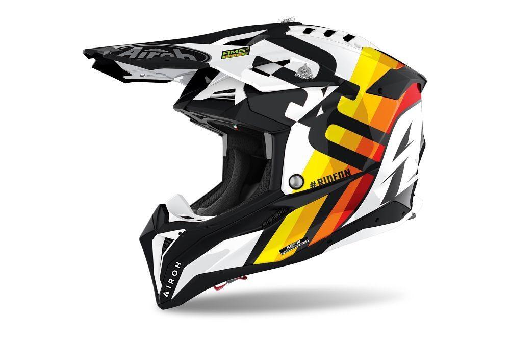Airoh Aviator - Rainbow white gloss casco moto enduro cross mx adventure motocross