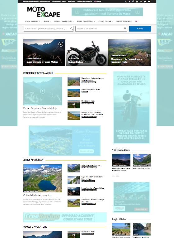 Homepage banners desk pubblicità moto excape